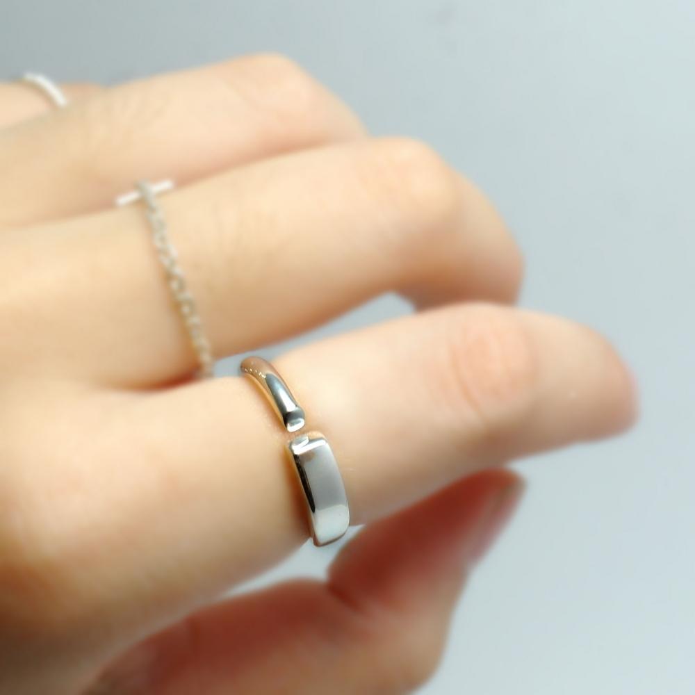 方圓斜切面戒指