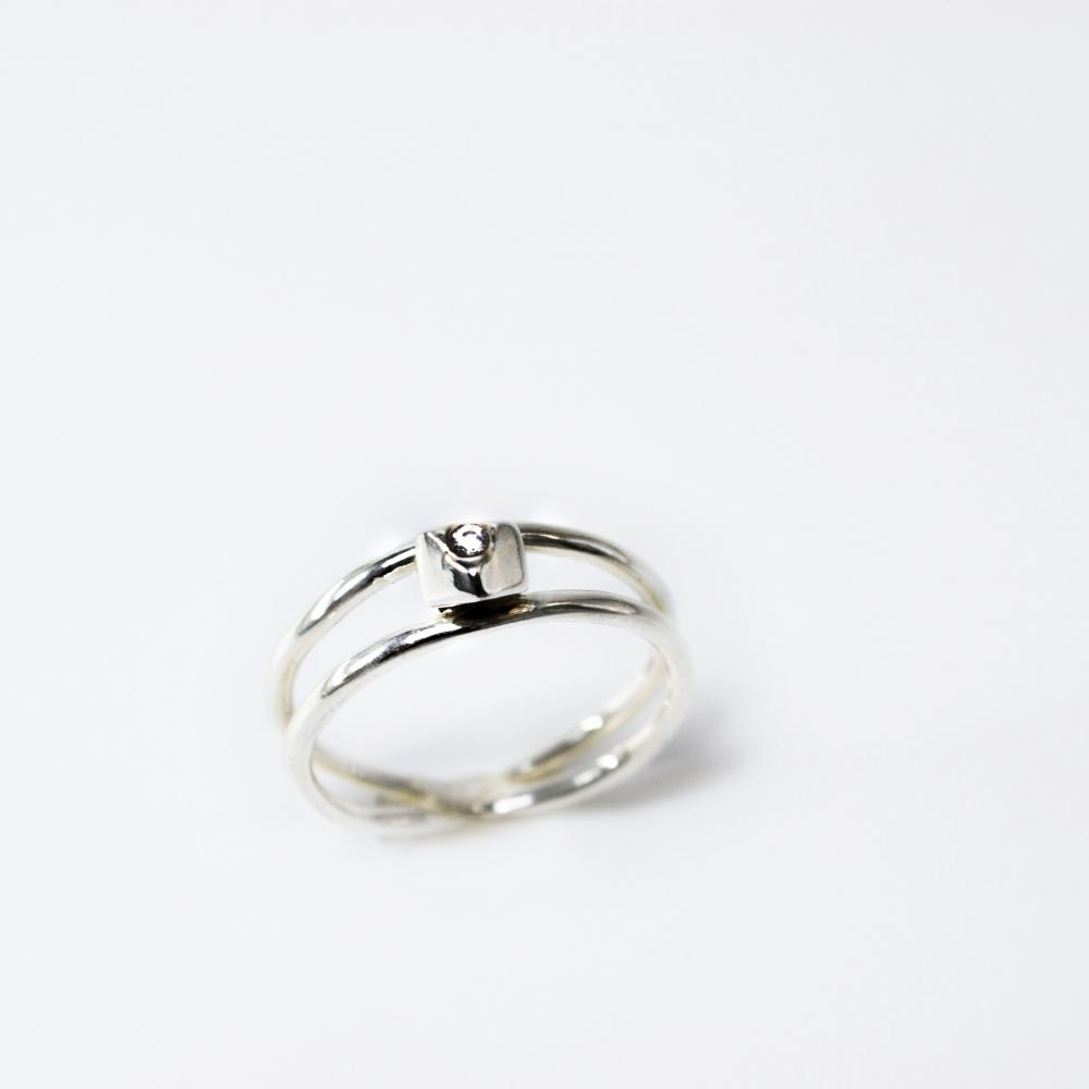 角面小銀塊雙線戒指