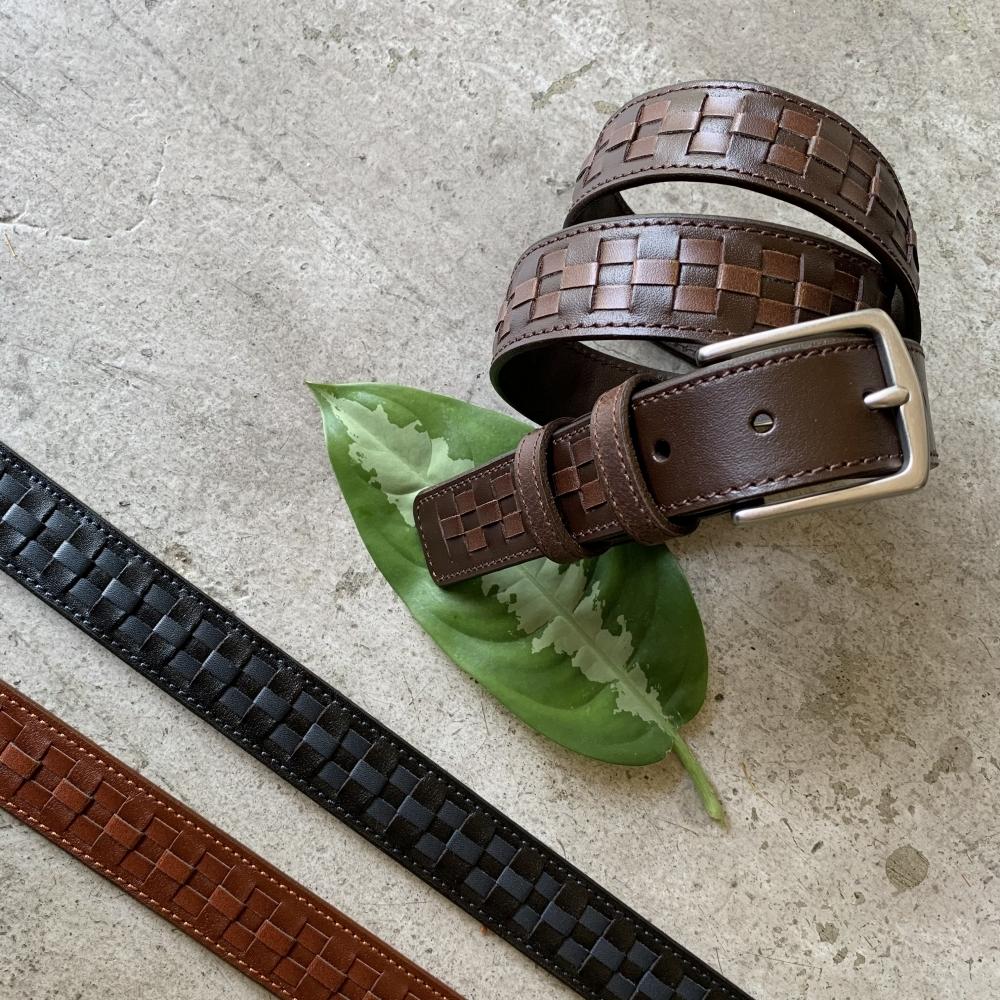 手工編製系列 – 格子樣 職人設計款 真皮皮帶 男生女生皮帶 腰帶 共3色