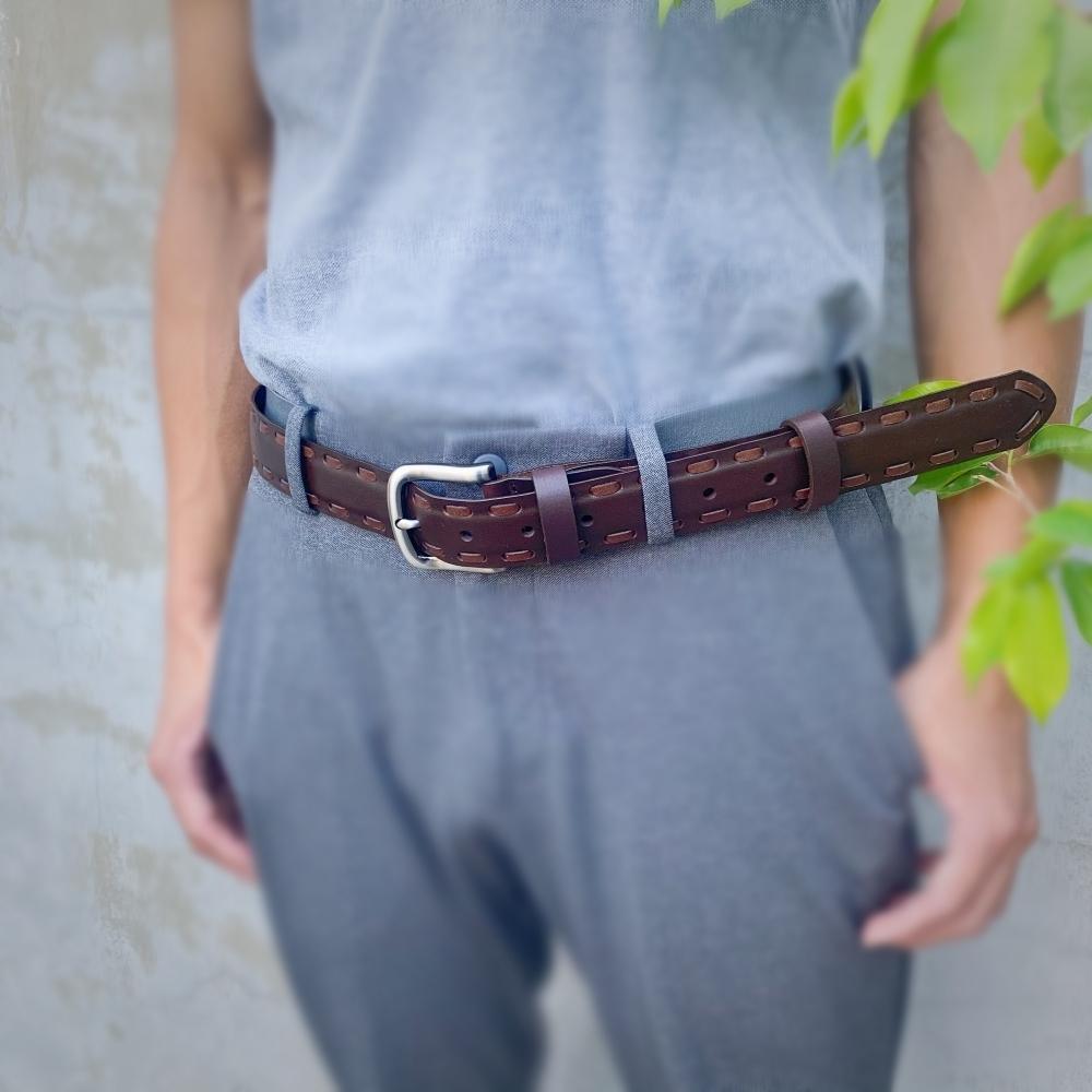 手工編製系列 - 雙條樣 職人設計款 真皮皮帶 男生女生皮帶 腰帶 共3色