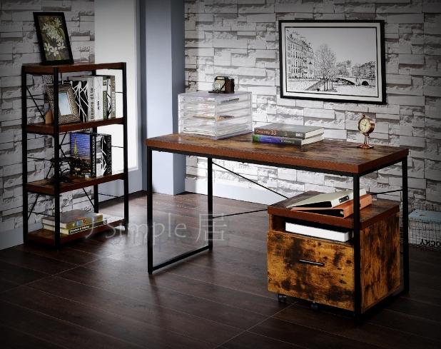 鐵管兩抽實木桌