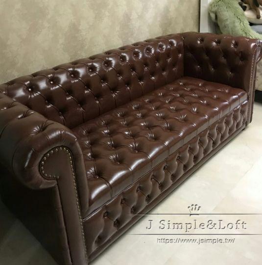可訂製-美式復古鉚釘雙拉釦沙發