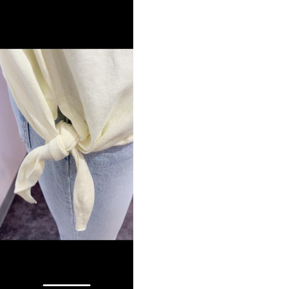 袖口細紗拼接右下擺綁帶