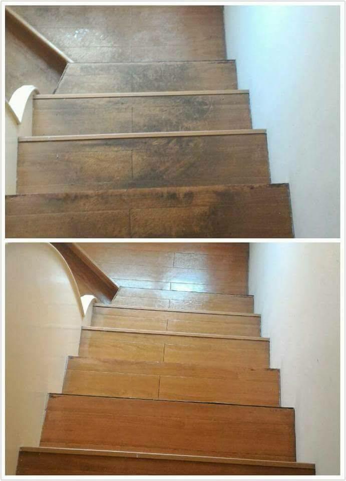 木質地板清潔前後