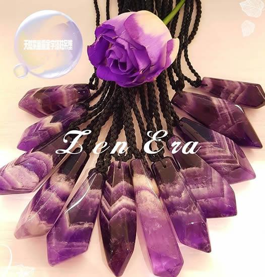天然紫幽靈金字塔水晶